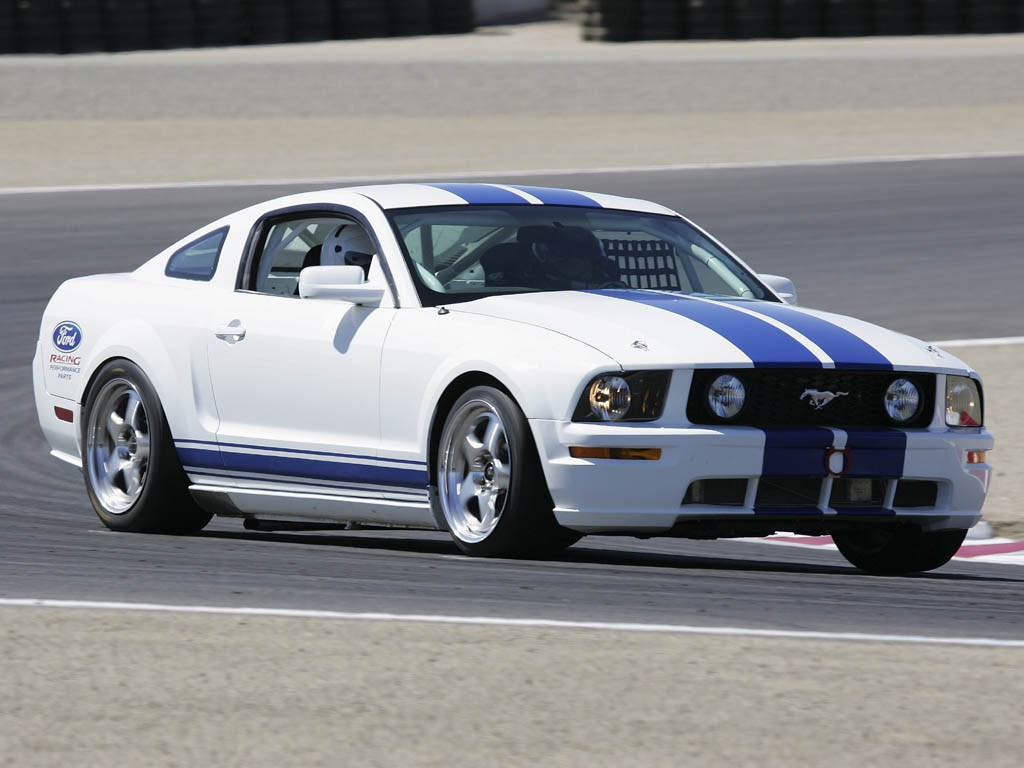 During Ford Racing's performance parts development program for the 2005 Mustang, engineers saw the opportunity to investigate a race version of the new car. The result could be a factory-supported Mustang race program. The first prototype was put through its paces at Mazda Raceway at Laguna Seca to test out its capabilities.